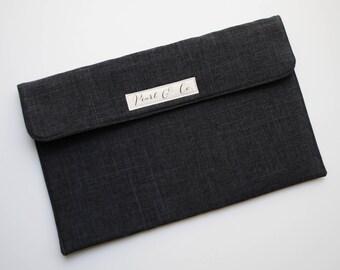 Diaper Clutch: Charcoal Gray Linen - Gray Diaper Clutch - Diaper Clutch Boy - Gray Nappy Clutch - Diaper Bag Organizer - Black Diaper Pouch