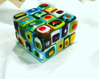 Fuse glass jewelry boxes