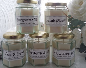 Amaretto scented candle, handmade by Klairs Kandles, using natural soy wax, great for gifts, vegan friendly