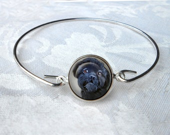 Black Shih Tzu Bangle Bracelet ~ Girlfriend Gift ~ Wire Bangle Bracelet ~ Dog Jewelry ~ Shih Tzu Bracelet ~ Trendy Jewelry