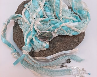 Wedding Handfasting Cord - Elements Ice Mother of Pearl Blue Aqua White