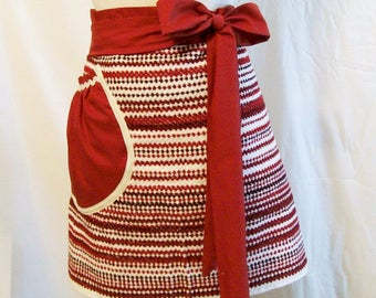 Women's Handmade  Red  and White Stripe Apron, Towel Half Apron, Kitchen Apron, Serving Apron, Gift for Mom, Made in the USA, #13A