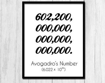 Science Classroom Print Digital Download Science Printable Chemistry Printable Avogadro's Number Downloadable Art Chemistry Classroom Print