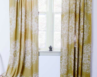 "Yellow curtains yellow mustard window curtain treatment with natural dye home living decor housewares ONE panel 84"" 96"" 108"" - Forest Tree"