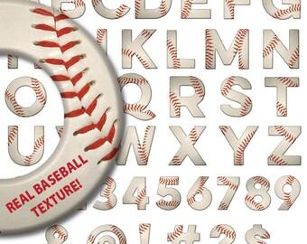 BASEBALL ALPHABET, font, letters, numbers, symbols, digital clipart, clip art, abc's, baseball, softball, alphabet, digital download
