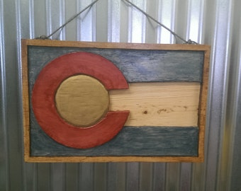 Handmade Colorado Flag Wood Carving