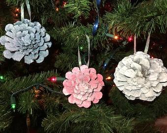Spakle Pinecone Snowflake Ornaments