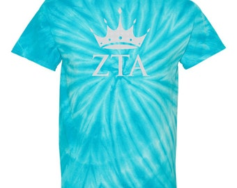 Zeta Tau Alpha, ZTA, Zeta Tau Alpha Shirt, Zeta Tau Alpha T Shirt, Zeta Tau Alpha tie dye, ZTA crown, ZTA Tie Dye, Big little, sorority