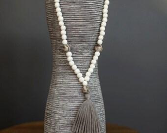 Bohemian tassel necklace, Wood beads necklace, Tassel necklace,Boho jewelry