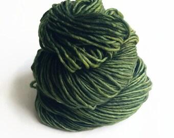 avocado / hand dyed yarn / fingering sock dk bulky yarn / super wash merino wool yarn / single or ply/choose your base /dark moss green yarn