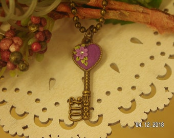 Magenta Mania - Floral Heart Key Pendant in Magenta
