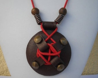 Necklace in red and Brown imitation leather polymer clay
