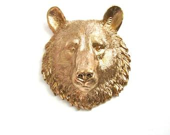 GOLD Small Faux Taxidermy Bear Animal Head, Mini Faux Taxidermy, Faux Taxidermy Bear Head, Gold Animal Head, Woodland wall decor, Faux Bear