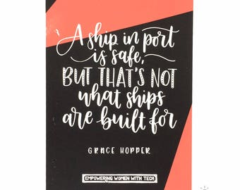 Screen printed Grace Hopper quote - A4 motivational typography poster - inspirational wall art - home decor - hand-lettered print