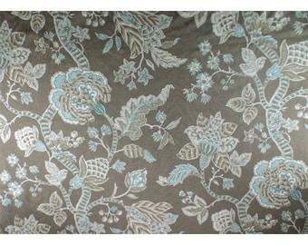 Ash Gray/Multi P/Kaufmann Floral Print Jacquard Decor Fabric, Fabric By The Yard