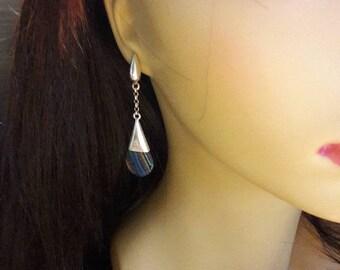 Vintage unique Sterling silver striped earring stud earrings