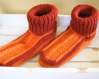 Knitted adult/teen stretchy yarn sock slippers - brick red/orange adult booties - cozy house slippers - cozy house socks - red orange socks