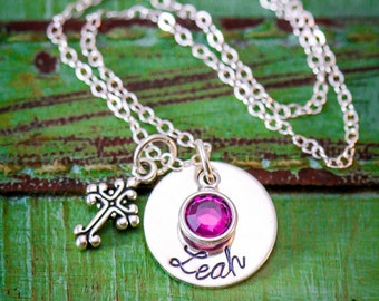 Custom Easter Gift Cross Necklace • Personalized Womens Baptism Gift Her • Tiny Cross Jewelry Birthstone Necklace Silver Cross Charm