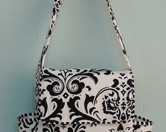 Messenger diaper bag// black and white floral fabric.