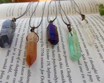 Simple Wire Wrapped Crystal Necklace | Aura Quartz Boho Chic Hippie Jewelry | Valentines Day Gift | Angel Titanium Aura Crystal Jewelry