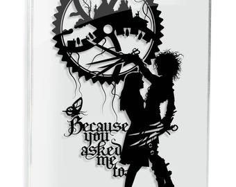 Edward Scissorhands Papercut Tim Burton Johnny Depp Movie Quote Geek Gift Goth Anniversary Gift Wedding Gift Dark Art Love Art FRAMED