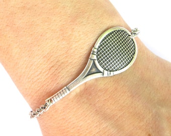 Tennis Racket Bracelet, Tennis Bracelet, Tennis Anklet, Sterling Silver Ox Finish or Brass Ox Finish, Gifts Under 20