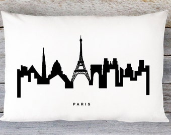 Paris Skyline Pillow Cover - Paris Cityscape Throw Pillow Cover - Modern Black and White Lumbar Pillow - By Aldari Home