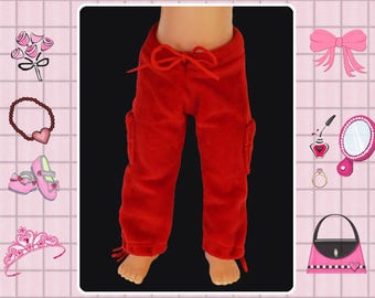 14 inch doll velour pants, Heart 4 Hearts, Hearts for Hearts, doll workout pants, doll sweatpants, Corolle les cheries pants, red doll pants