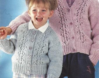PDF Instant Digital Download  boy girls round & V neck cardigan knitting pattern chunky knit 24/32 inch (294)