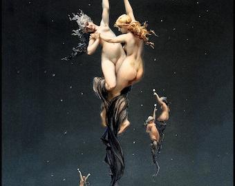 Twin Stars Print - L'étoile double - Luis Ricardo Falero- 1881 - A Romantic Period artwork - Stars - erotica - celestial nudes - Zodiac
