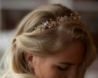 Bridal Wedding Halo/ Headband/ Tiara with Glass Beads,  and Rhinestone Crystals Vintage style Hair Accessories
