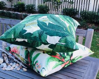 Floor cushions, Tommy Bahama floor pillows, tropical floor cushions, home decor, coastal decor, palm leaf pillow, bean bags, Australian made