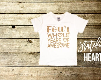 Four shirt, Fourth Birthday shirt, Four years old shirt, 4th birthday shirt, Fourth birthday outfit, Four and fabulous