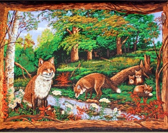 Woodhaven Animals Wall Hanging- Fox Love Wallhanging / Quilt Top Panel 100% cotton Fabric by the panel (SC989)