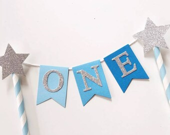 Bunting Cake Topper - 1st Birthday Blue Ombré with Silver Glitter ONE
