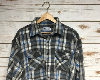 Vintage 70's 80's Heavy Cotton Flannel The Alaskan Made in the USA Blue and gray plaid flannel oversized boyfriend flannel grunge - Large/XL