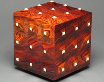 Sculpted Wooden Box with Hidden Compartment, 'The Pinnacle Box'