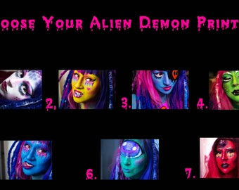 Circuit Witch 4x6'' or 5x7'' Alien Demon Print - Space Babe Synthetic Dreads Cybergoth Cyber Goth Alt Alternative Model Creepy Cute Slime