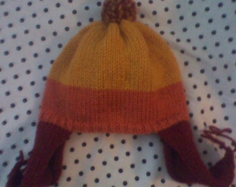 100% Acrylic Cunning Red, Orange, and Yellow Hat with Earflaps