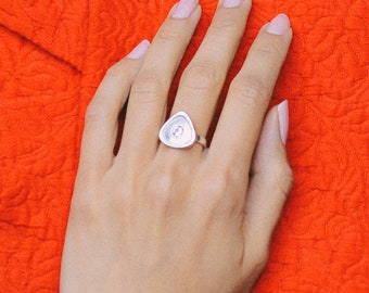 Rionore Sterling Silver White Topaz Gemstone Ring