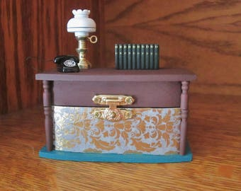 Miniature Office Desk with Lamp, Books, and Phone Wooden Trinket / Jewelry Box