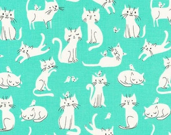 Robert Kaufman Whiskers & Tails by Sea Urchin Studios Cats Mint Premium Cotton