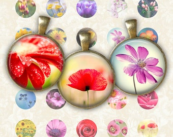 Spring Flower Circle - Digital Collage Sheet 1 inch Printable Circles Download for pendants magnets bottle caps