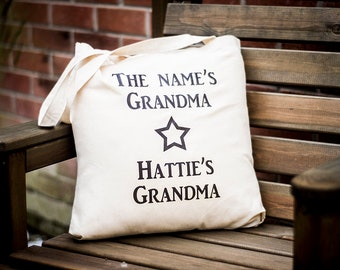 The Name's Grandma Tote Bag | Handmade | Canvas Tote Bag | Personalised bag | Handbag | Shopping bag | Printed Bag