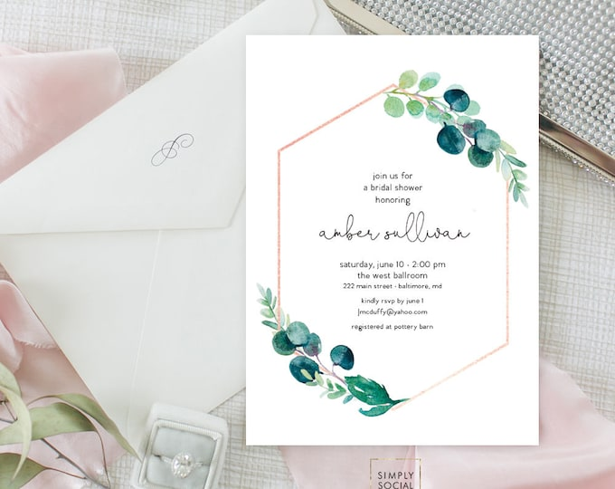 Greenery Bridal Shower Invitation - Garden Shower - Baby Shower Invitation - Faux Rose Gold Watercolor Printable