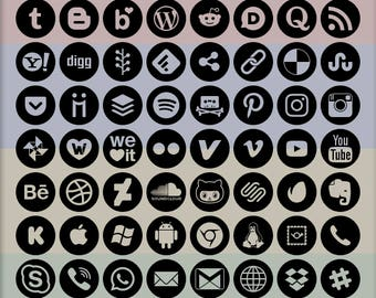 Social Media Icons, 72 logo designs, alpha transparency on black, circle outline shape, vector & bitmap images