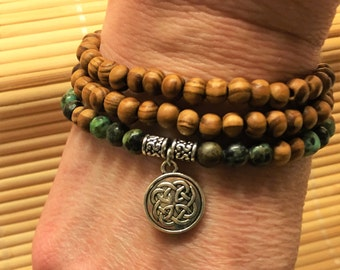 Irish Celtic Knot 108 Bead Meditation Necklace Bracelet  - Wood, Silver and African Turquoise Mediation Relaxation Protection Jewelry