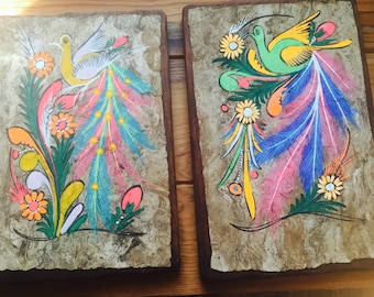 Hand Painted Birds on Rustic Wood// Folk Art // Hand Painted Wood Plaques