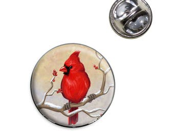 Cardinal In Winter Lapel Hat Tie Pin Tack