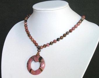 "Necklace Rhodonite Huge 46mm Heart Ring Pendant 20"" NSRD2894"